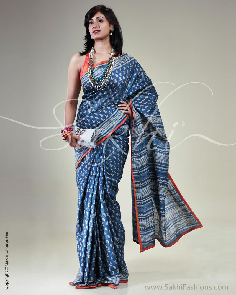 SR-0623 - Blue & White Pure Tussar Silk Saree