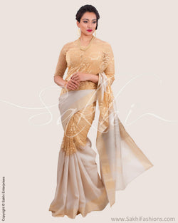 SR-0632 - Beige & gold pure Tussar silk saree