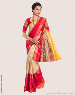 SR-0633 - Yellow & red pure Kanchivaram silk saree