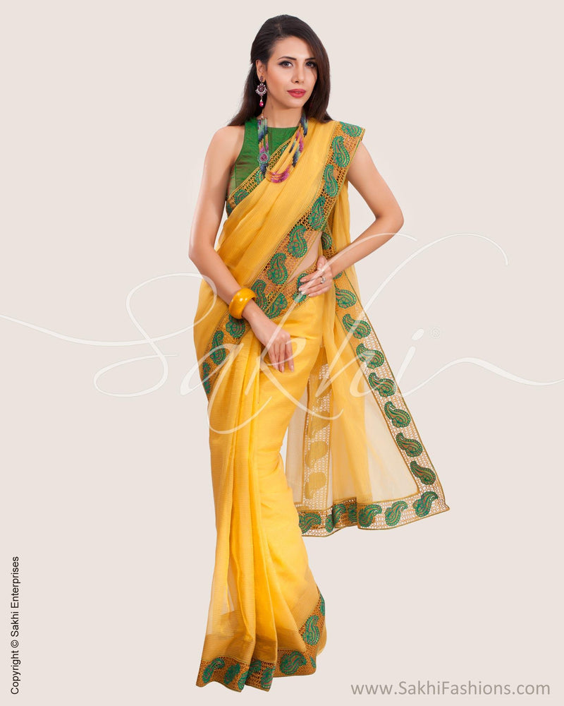SR-0643 - Yellow & Green Pure Tissue Kota Saree