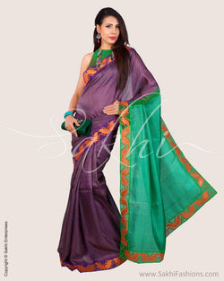 SR-0650 - Purple & Green Pure Tussar Silk Saree