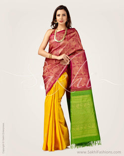 SR-0674 - Pink & Multi Pure Kanchivaram Silk Saree