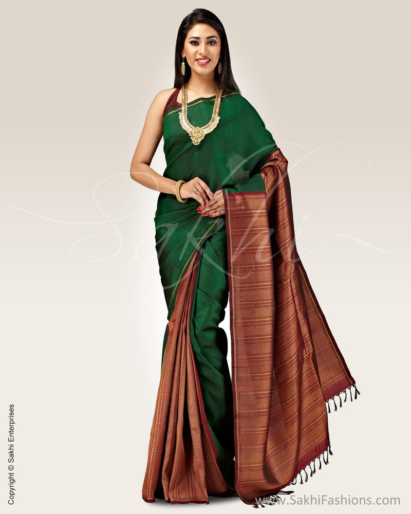 SR-0686 - Green & maroon pure Kanchivaram silk saree