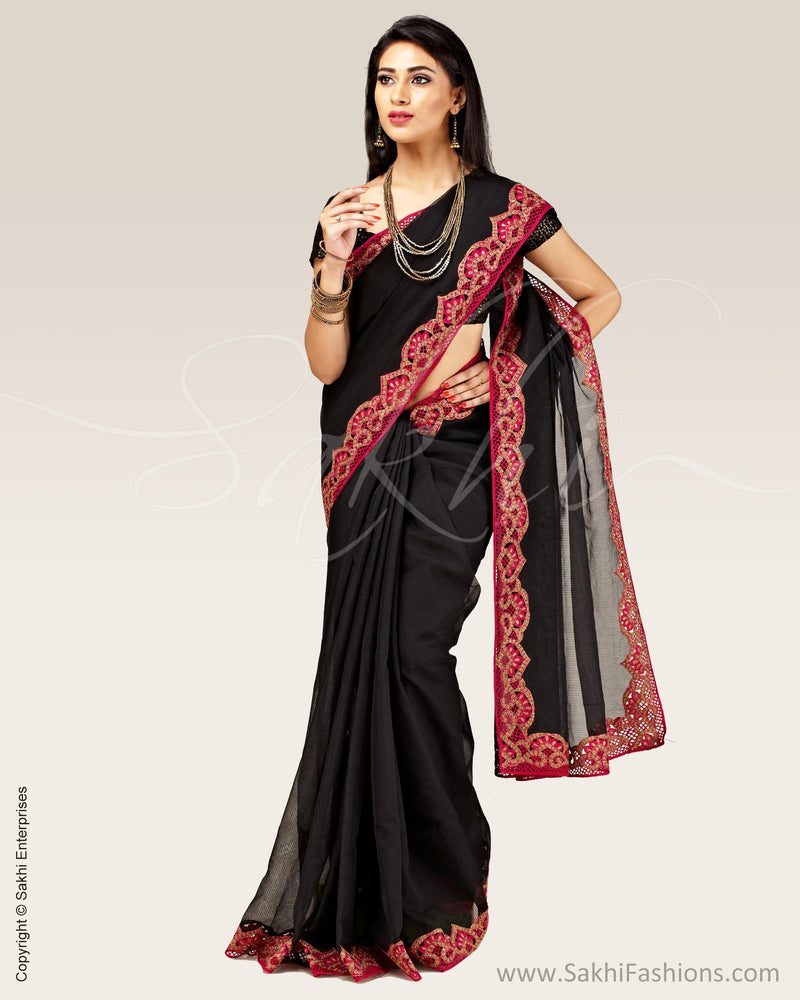 SR-0695 - Black & Pink Supernet Saree
