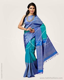 SR-0702 - Blue & green pure Kanchivaram silk saree