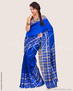 SR-0703 - Blue & Silver Pure Dupion Silk Saree