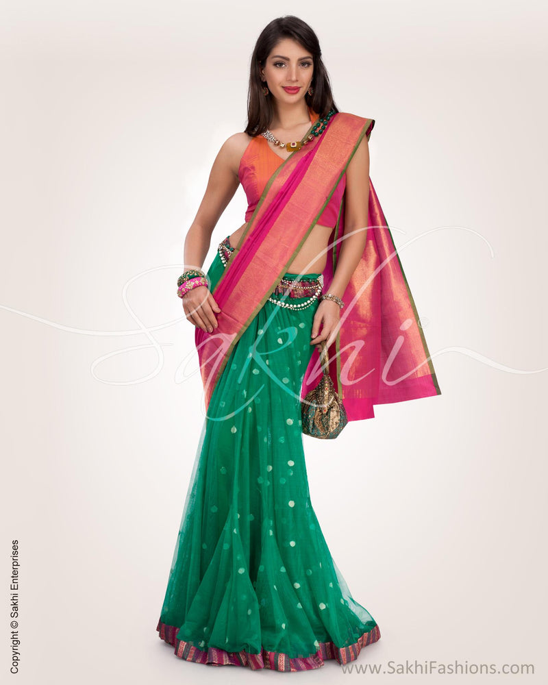 SR-0732 - Pink & Green Pure Kanchivaram Silk Saree