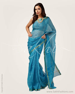 SR-0735 - Blue & white pure Silk Kota saree