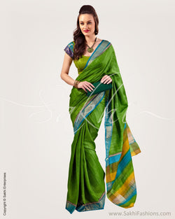 SR-0739 - Green  & Multi Pure Tussar Silk Saree