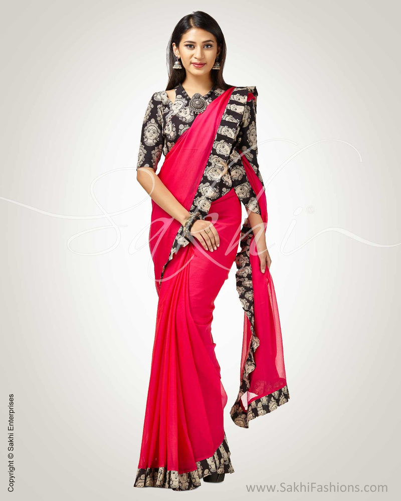 SR-0748 - Pink & black pure Chiffon silk saree