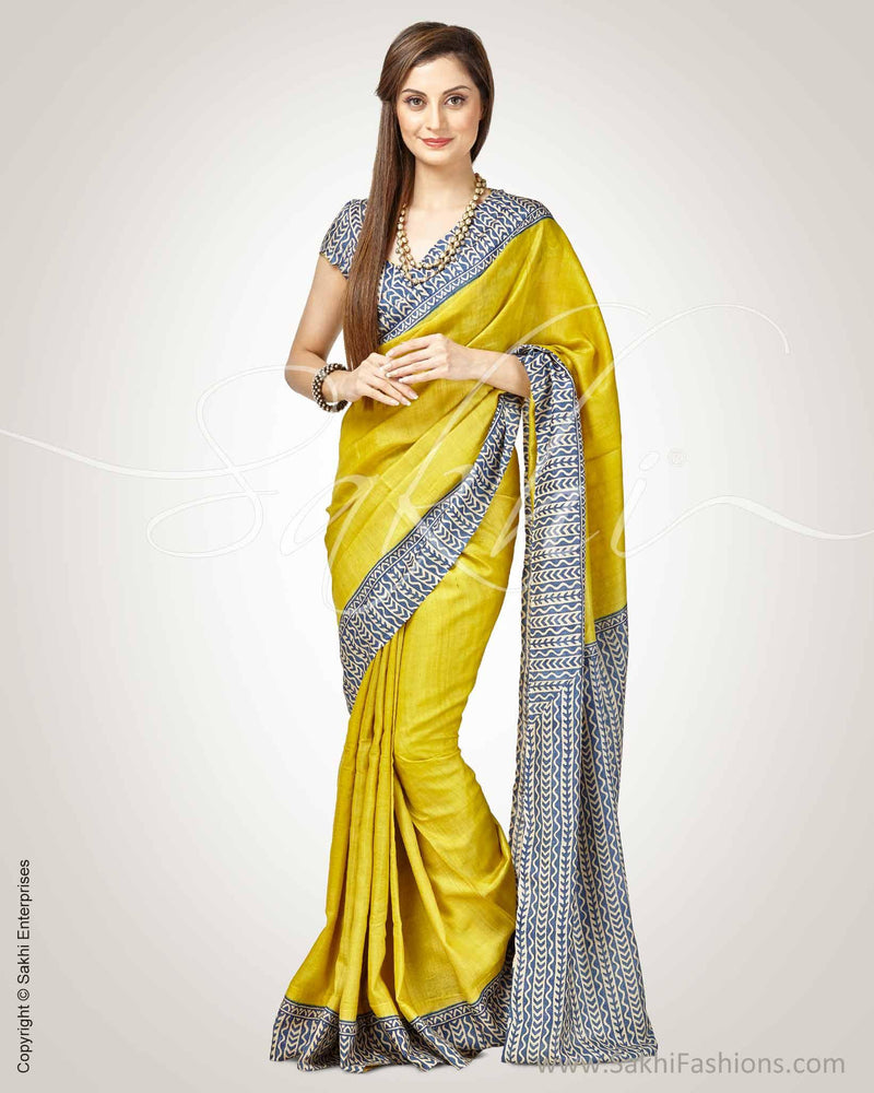 SR-0749 - Yellow & Blue Pure Tussar Silk Saree