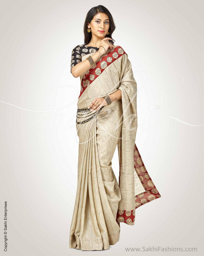 SR-0750 - Beige & black pure Tussar silk saree