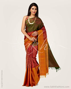 SR-0751 - Red & Mustard Pure Kanchivaram Silk Saree