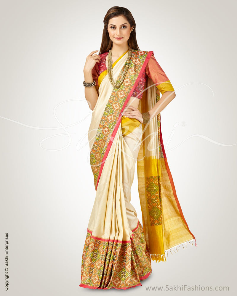 SR-0756 - Cream & pink pure Silk saree