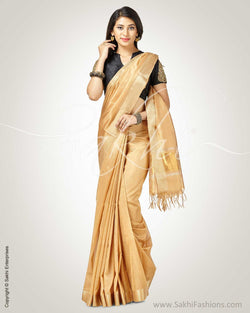 SR-0757 - Beige & Gold Silk & Cotton Saree