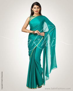 SR-0758 - Green & gold pure Chiffon Silk saree