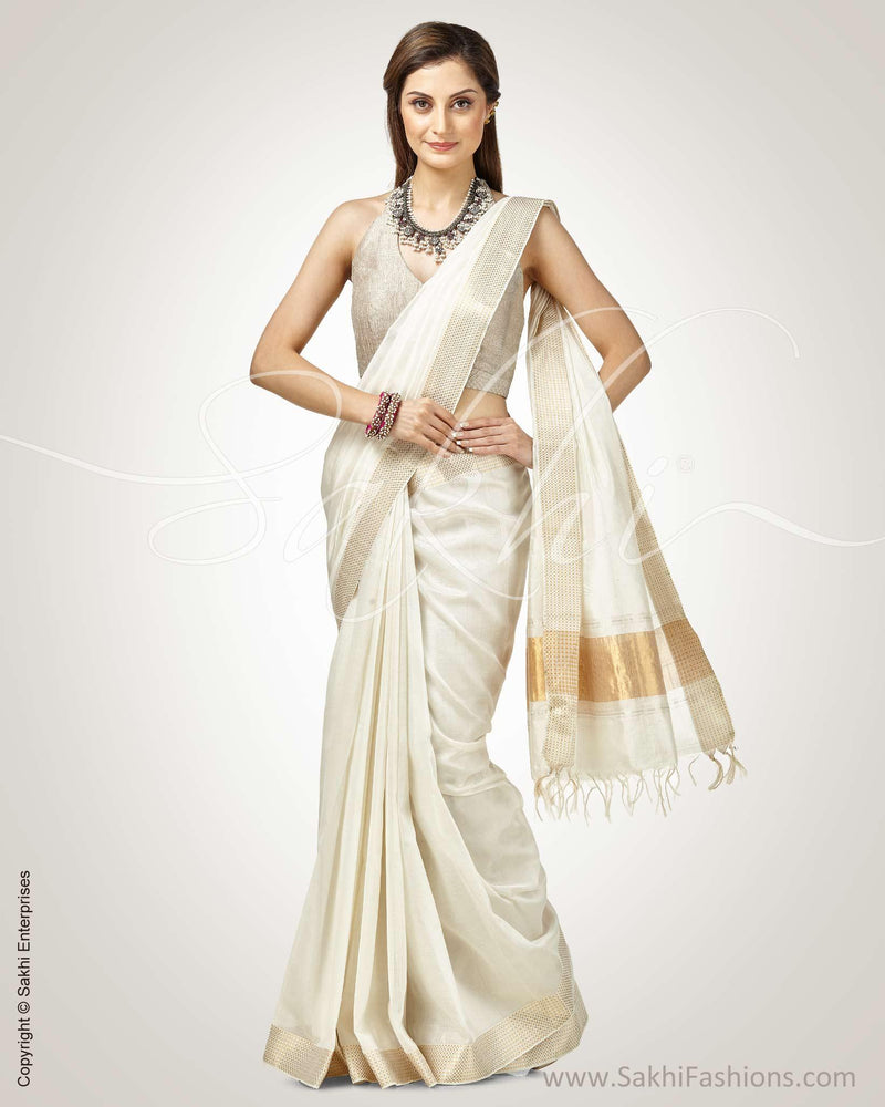 SR-0759 - Cream & Gold Silk & Cotton Saree