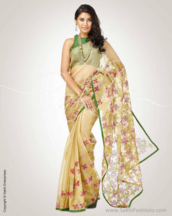 SR-0760 - Beige & green pure Organza silk saree