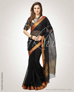 SR-0763 - Black & Antique Pure Cotton Saree