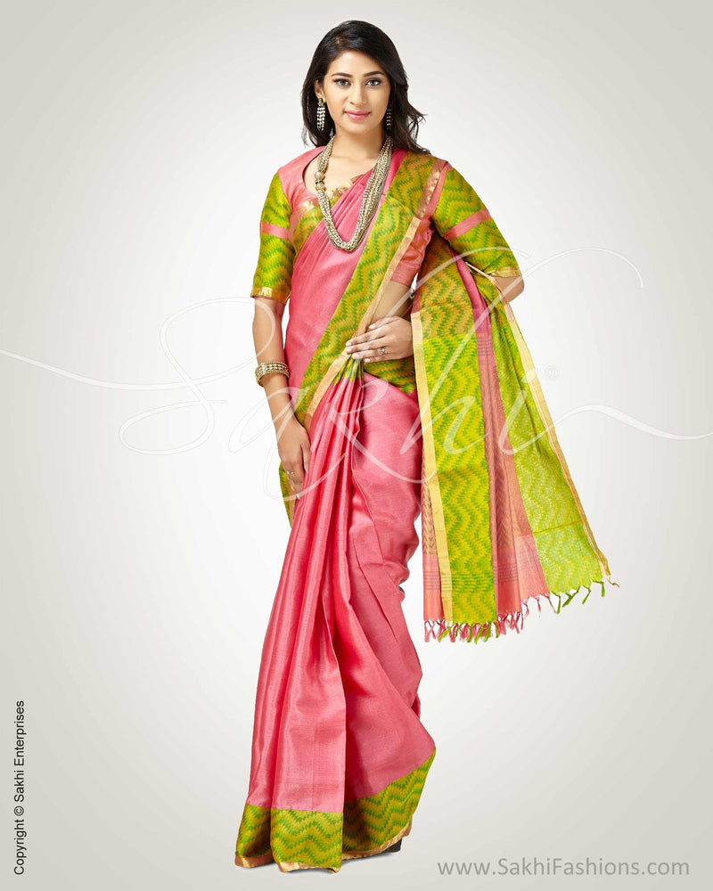 SR-0782 - Pink & Green Pure Tussar Silk Saree