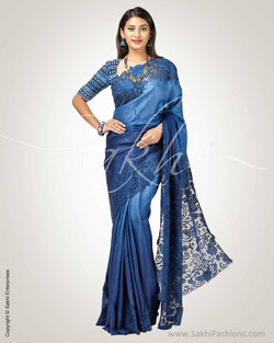 SR-0791 - Blue & Blue Pure Tussar Silk Saree