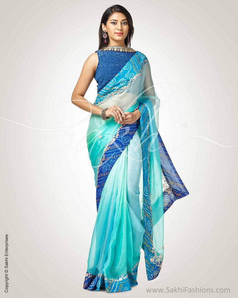 SR-0795 - Blue & silver pure Silk Kota saree