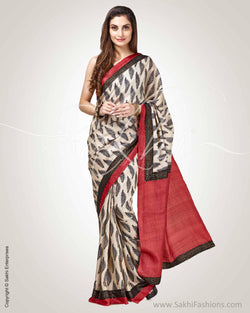 SR-0796 - Black & Red Pure Tussar Silk Saree