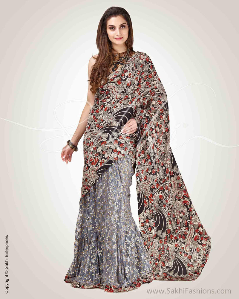 SR-0797 - Black & grey pure Silk saree