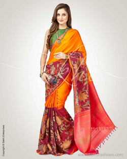 SR-0801 - Orange & Multi Pure Kanchivaram Silk Saree