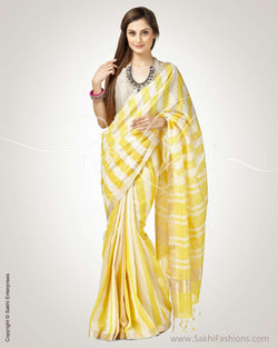 SR-0804 - Yellow & Cream Pure Cotton Saree