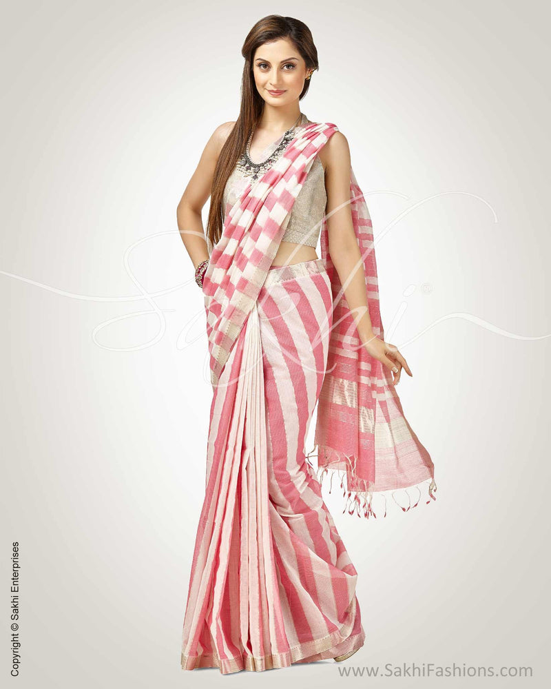 SR-0805 - Pink & Cream Pure Cotton Saree