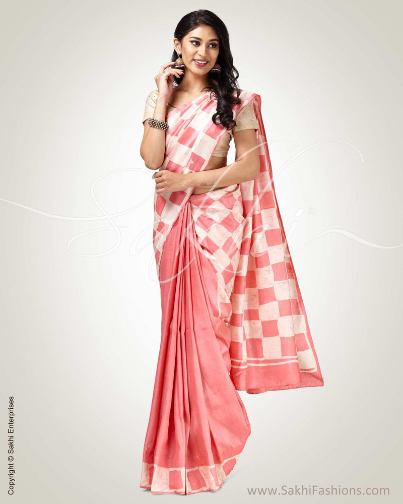 SR-0808 - Pink & cream pure Silk saree