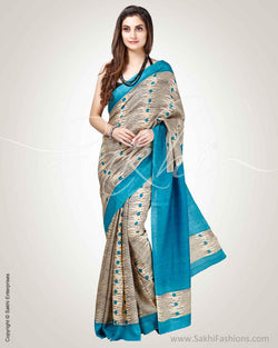 SR-0811 - Blue & black pure Tussar silk saree