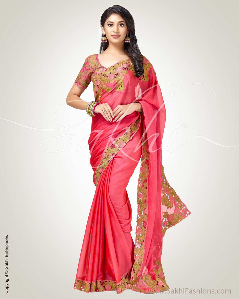SR-0813 - Pink & Multi Pure Chiffon Silk Saree