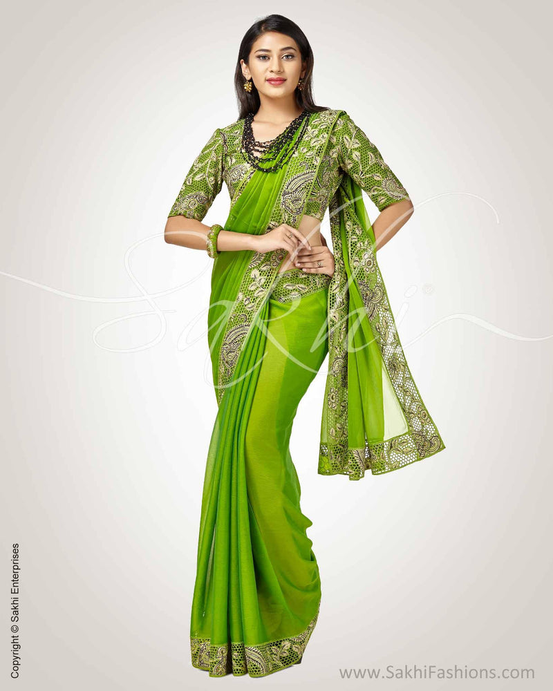 SR-0816 - Green & Beige Pure Chiffon Silk Saree