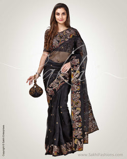 SR-0817 - Black & multi pure Organza silk saree