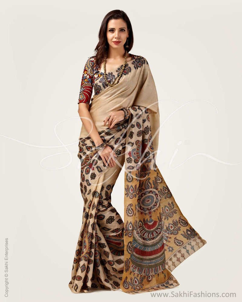SR-0818 - Beige & Multi Pure Tussar Silk Saree