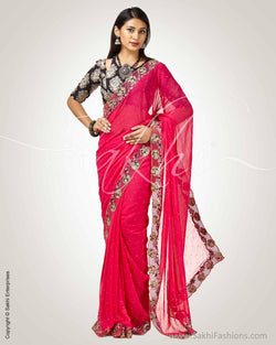 SR-0820 - Pink & Black Faux Georgette Saree