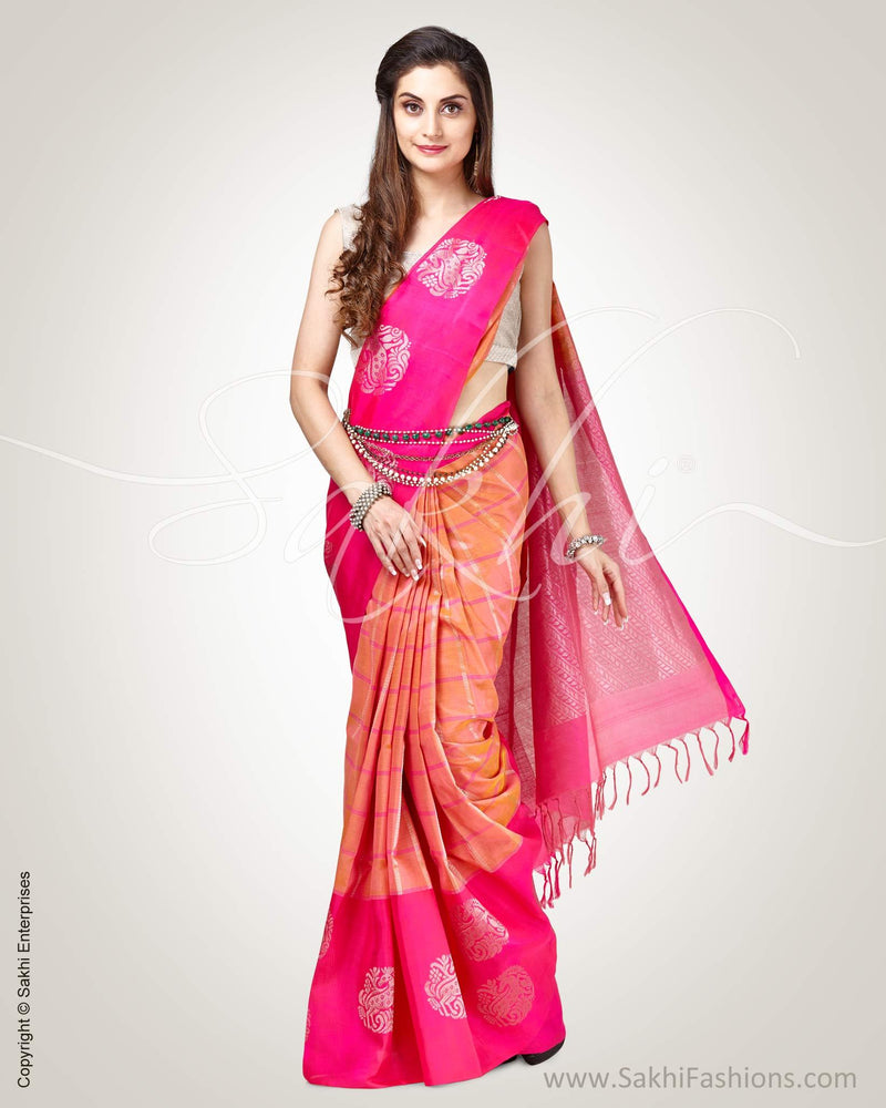 SR-0826 - Pink & Gold Pure Upada Silk Saree