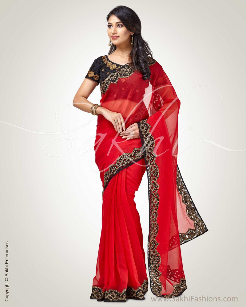 SR-0829 - Red & black Supernet saree