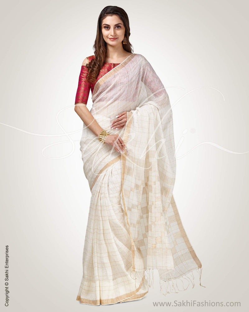 SR-0835 - Cream & Gold Pure Linen Saree