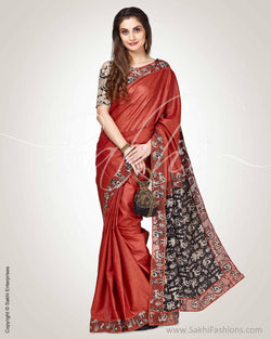 SR-0836 - Brown & Black Pure Tussar Silk Saree