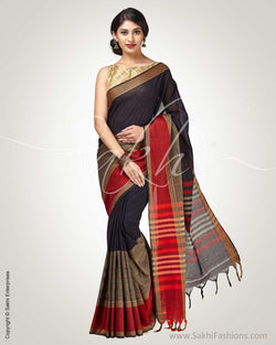 SR-0837- Black & maroon pure Cotton saree