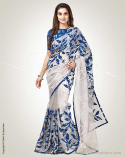 SR-0840 - Silver & blue pure Tissue Kota saree
