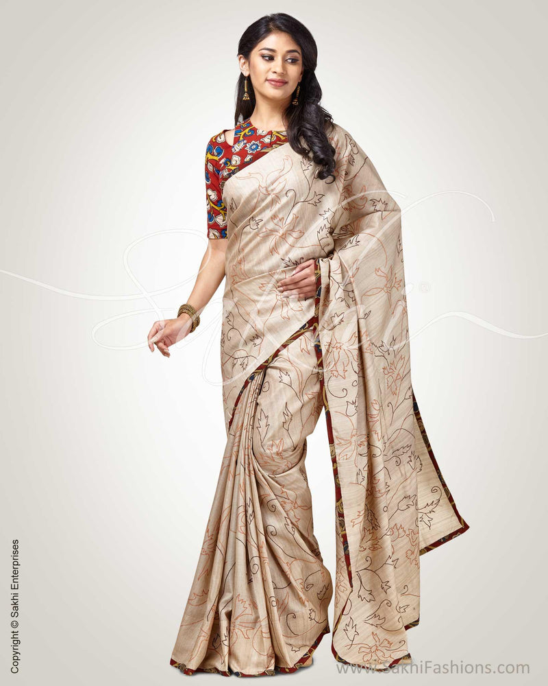 SR-0852 - Cream  & Multi Tussar Saree