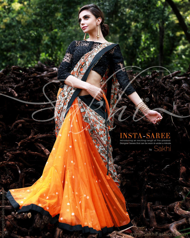 SR-0860M - Orange & Multi Silk&Cotton Saree