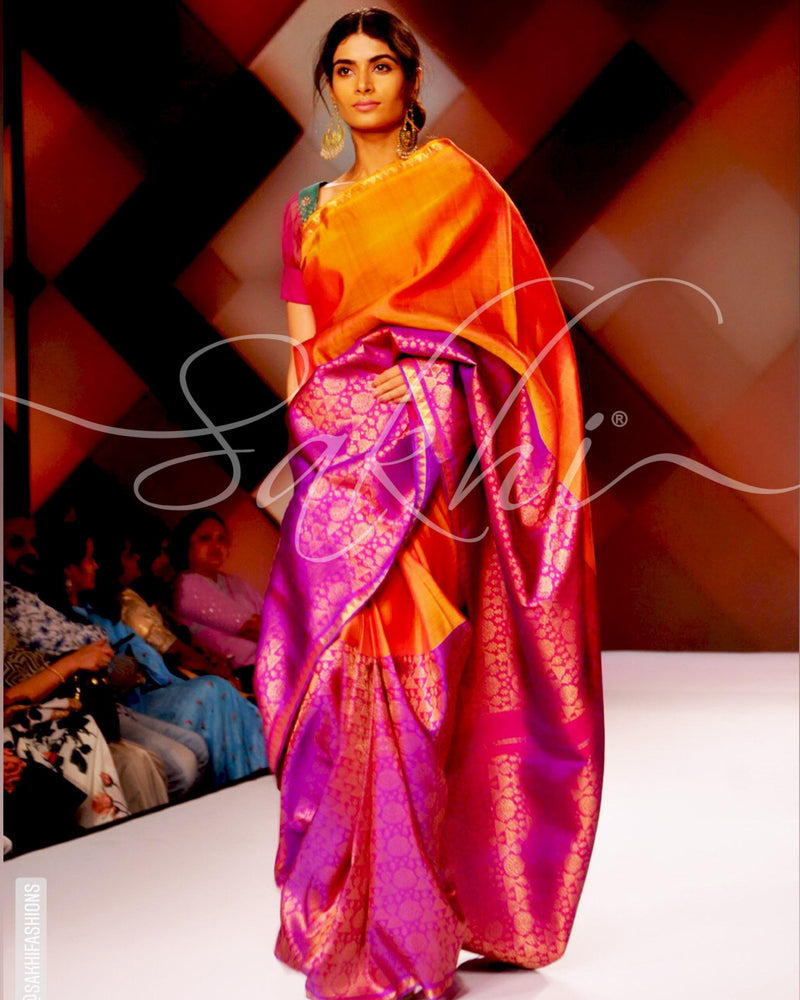 SR-0865M - Mustard & Purple  Pure Kanchi Silk Saree