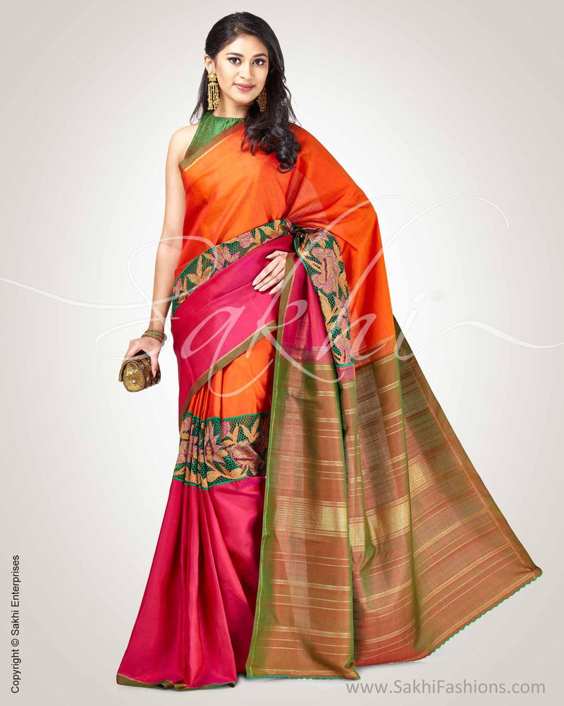 SR-0866 - Orange pink pure Kanchivaram silk saree