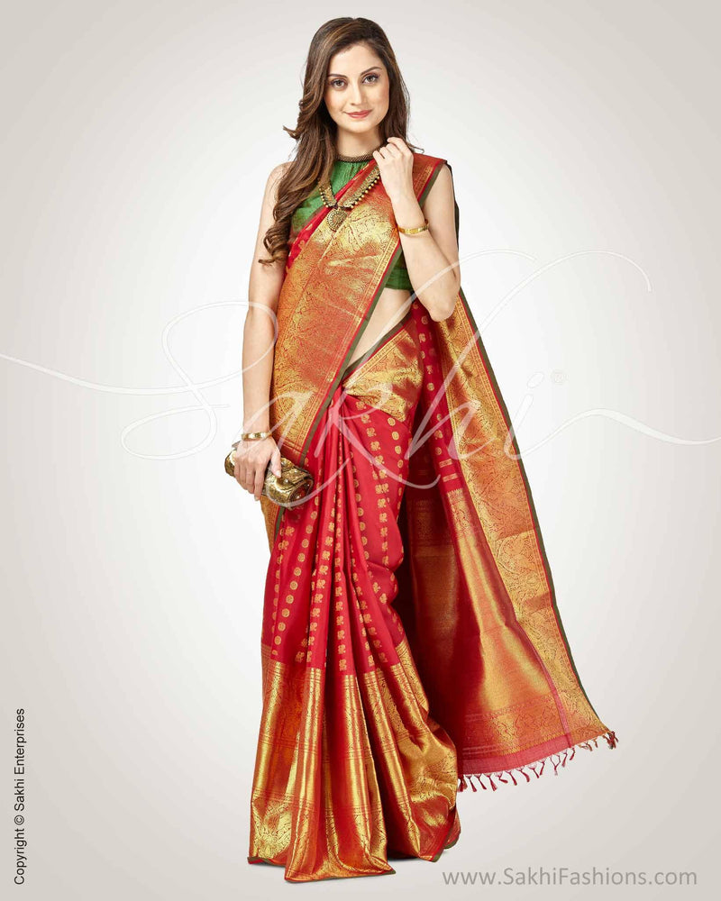 SR-0874 - Maroon & gold pure Kanchivaram silk saree