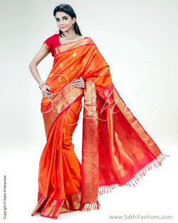 SR-0875 -Orange & red pure Silk saree